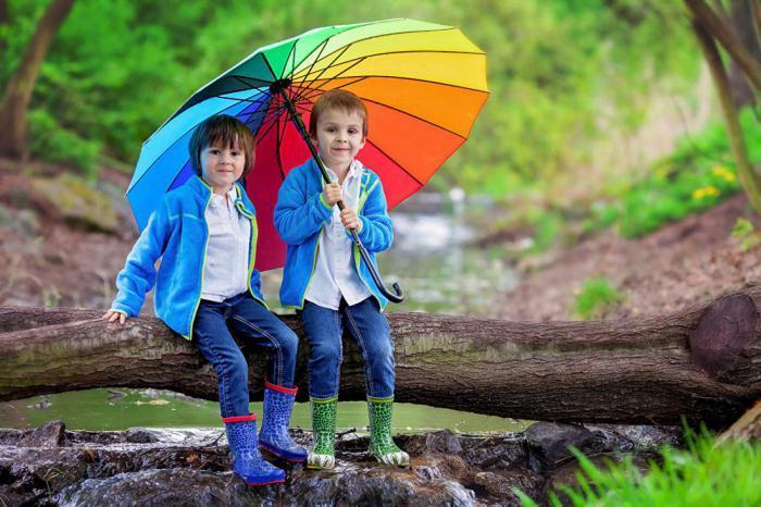 дети под зонтиком